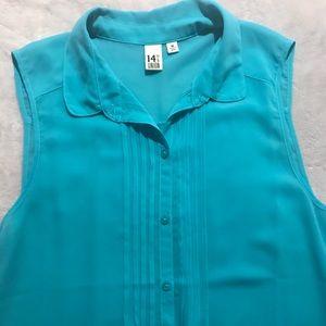 14th & Union Sheer Turquoise Sleeveless Blouse